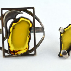 Set argint masiv bratara inel chihlimbar galben, atelier polonez design Art Deco