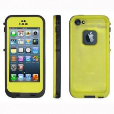 Toc subacvatic impermeabil cu prelungitor casti audio iPhone 5 + folie - Husa Telefon Apple, iPhone 5/5S/SE, Verde, Piele Ecologica, Cu clapeta, Husa