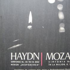 Haydn - Simfonia 45 Despartirea / Mozart - Simfonia 29, vinil - Muzica Clasica electrecord