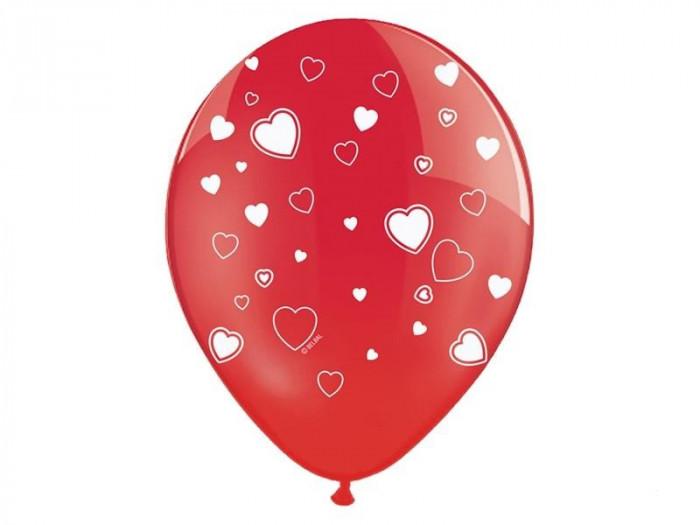 Baloane rosii cu inimioare, 30 cm, 5buc/set