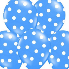 Baloane albastre cu buline albe, 30 cm, 5buc/set - Decoratiuni botez