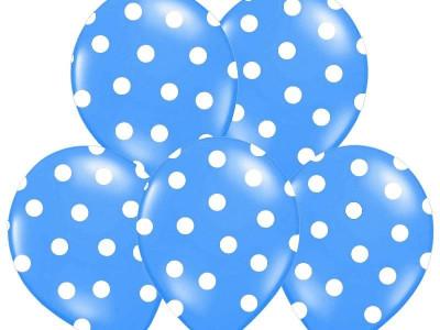 Baloane albastre cu buline albe, 30 cm, 5buc/set foto