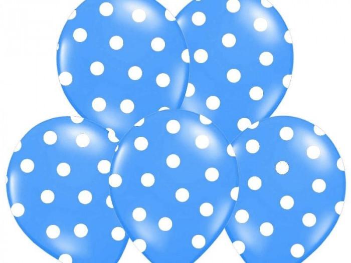 Baloane albastre cu buline albe, 30 cm, 5buc/set