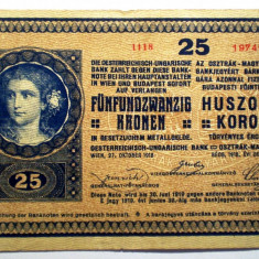 107. AUSTRIA UNGARIA 25 KRONEN KORONA 1918 UNIFATA SR. 413 - bancnota europa