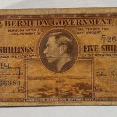 Bermuda 5 Shillings 1937 P#8b - bancnota america