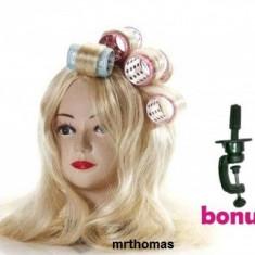 Cap practica coafor manechin blond par sintetic + Suport Prindere
