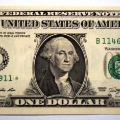 44. USA SUA 1 ONE DOLLAR 2009 SERII CONSECUTIVE SR. 911-912 AUNC STEA - bancnota america