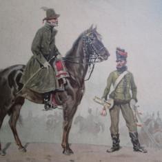 Litografie veche Generalul Bem Jozsef, Batalia de la Sibiu martie 1849 soldati