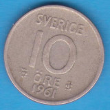 (1) MONEDA DIN ARGINT SUEDIA - 10 ORE 1961, Europa