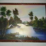 Tablou pe pinza in ulei - Pictor roman, Peisaje, Abstract