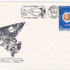 Bnk fil Plic ocazional astrofilatelie 30 ani de la lansarea Laika cu Sputnik 2
