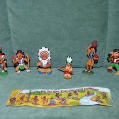 Lot 6 figurine surprize ou Kinder, indieni si explorator, plastic, colectie - Surpriza Kinder
