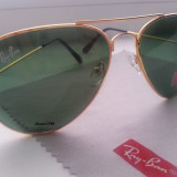 Ochelari de soare Ray Ban Aviator cu serie, Unisex, Metal, Protectie UV 100%