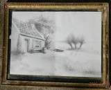 Tablou grafica veche, Peisaje, Carbune, Realism