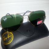 Ochelari Ray Ban Aviator cu serie + toc + laveta - Ochelari de soare Ray Ban, Unisex, Metal, Protectie UV 100%