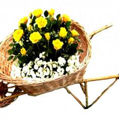 Ornament Roaba din Rachita si lemn - Suport Flori Decoratiuni de gradina