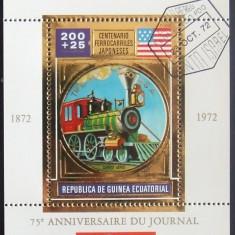 GUINEEA EQ 1972 - CAILE FERATE JAPONEZE, 1 S/S, OBLIT CU FOLIE AUR - GEQS 005
