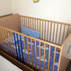 Vand pat bebe - Patut lemn pentru bebelusi, 140x70cm, Maro