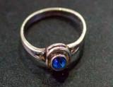 Inel vechi din argint cu piatra safir(15)