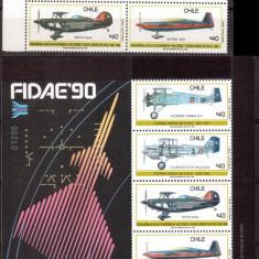 CHILE 1990, Aviatie, serie neuzata, MNH - Timbre straine, Nestampilat