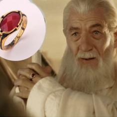 Inel LORD OF THE RINGS - LOTR - Modelul Gandalf - Rosu cu Diamant