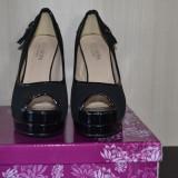 Pantofi cu platforma - Pantof dama, Culoare: Negru, Marime: 36, Piele sintetica