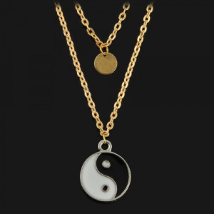 Pandantiv / Colier / Lantisor - Yin Yang - Lant  Auriu