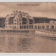 BAIA OCNA, HOTELUL STATULUI SI LACUL HORIA, CIRCULATA JUN.*926 - Carte Postala Transilvania dupa 1918, Printata, Ocna Sibiului