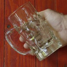 Halba de bere din sticla model deosebit cu marcaj !!