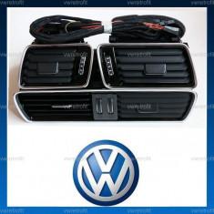 Grile ventilatie VW Passat B6, CC, B7 - cu iluminare LED si ornament CROM - Bord auto