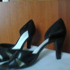Sandale ( pantofi ) dama, negre, marimea 7.5 (echivalent 38.5), toc 8 - Pantof dama George, Culoare: Negru, Cu toc