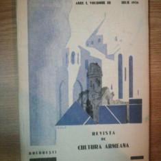 REVISTA DE CULTURA ARMEANA, ANUL I, VOL.III, IULIE 1936, BUC.