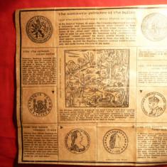 Foaie veche cu Povestea Romantata a Dolarului - Cartonas de colectie