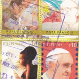 Timbre stampilat   filipinez  pope FRANCISC