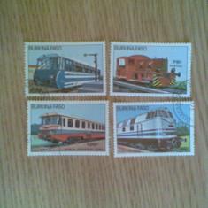 BURKINA FASO (2447) - LOCOMOTIVE - timbre stampilate - Timbre straine