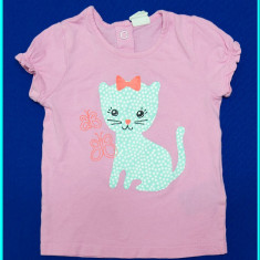 DE FIRMA → Tricou cu pisicuta, bumbac, marca H&M _ fetite | 6—12 luni | 62—68 cm, Marime: Alta, Culoare: Roz, Fete