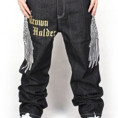 Pizoff Hip Hop Graffiti Print Baggy Jeans Denim - Blugi barbati Denim Republic, Marime: 38, Culoare: Negru, Lungi, Largi, Lasat