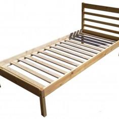 PAT SIMPLU PENTRU O PERSOANA, DIN LEMN MASIV (MOLID) 200X90 CM - Pat dormitor