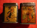 2 Cutii de Ceai ,vechi pictate cu motive Japoneze ,dim.5,5x5,5x7,3 cm