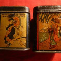 2 Cutii de Ceai, vechi pictate cu motive Japoneze, dim.5, 5x5, 5x7, 3 cm - Cutie Reclama