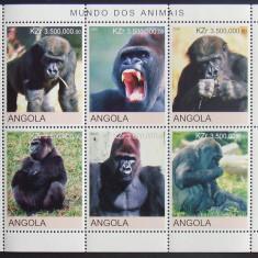 ANGOLA 2000 - MAIMUTE, 1 M/SH NEOBLITERATA, POSTA PRIVATA - PP 466