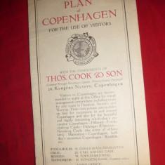 Harta- Planul Copenhaga, interbelica Danemarca - Harta Turistica