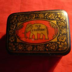 Cutie metal veche -de Ceai Ceylon - Elefant -dim. 8, 3x5, 5x3, 2 cm - Cutie Reclama