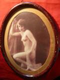 Fotografie de Arta- Nud -in rama veche ovaladin lemn ,h= 22 cm