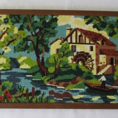 GOBLEN-PEISAJ CU MOARA-inramat, vintage - Tapiterie Goblen
