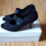 Pantofi cu toc, Catifea, Negri, marimea 39