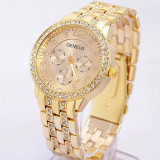 Ceas dama Geneva auriu gold curea metalica cristale + cutie cadou, Quartz, Otel