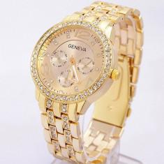 Ceas dama Geneva auriu gold curea metalica cristale + cutie cadou, Quartz, Otel, Analog