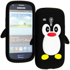 Husa protectie silicon model pinguin Samsung Galaxy S3 Mini i8190 + folie