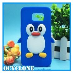 Husa pinguin soft silicon Samsung Galaxy S6 + folie protectie ecran